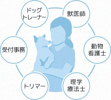 獣医師・動物看護士・理学療法士・トリマー・受付事務・ドッグトレーナーのチーム医療